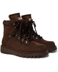 Moncler Brown Egide Suede And Nylon Boots for men