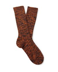 The Workers Club Orange Ribbed Space-dyed Merino Wool-blend Socks for men