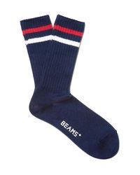 Beams Plus Blue Striped Ribbed Cotton-blend Socks for men