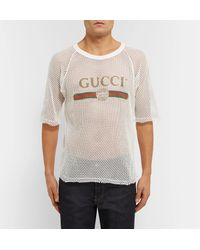 Gucci White Printed Cotton-mesh T-shirt for men