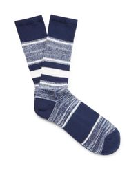 Anonymous Ism - Blue Striped Jacquard-knit Socks for Men - Lyst