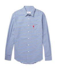AMI Blue Gingham Cotton Shirt for men