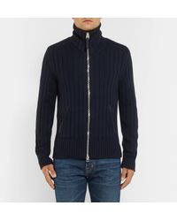 Tom Ford Blue Suede-trimmed Wool Zip-up Cardigan for men