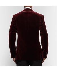 Dunhill Purple Burgundy Kensington Slim-fit Faille-trimmed Cotton-velvet Tuxedo Jacket for men