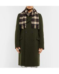 Burberry - Brown Fringed Checked Cashmere Scarf for Men - Lyst