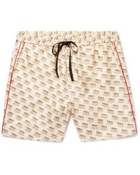 Gucci Natural Slim-fit Piped Logo-print Silk-twill Shorts for men