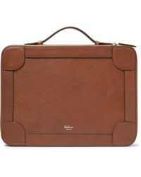 Mulberry Brown Belgrave Pebble-grain Leather Portfolio for men