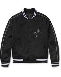 Lanvin Black Embroidered Satin Bomber Jacket for men