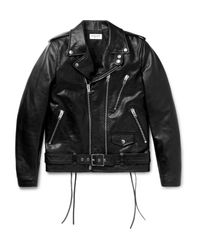 Saint Laurent Black Slim-fit Leather Motorcycle Jacket for men