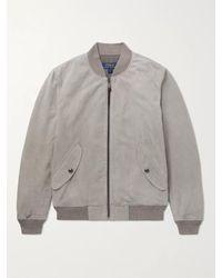 Polo Ralph Lauren Gray Suede Bomber Jacket for men