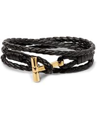 Tom Ford Black Woven Leather And Gold-tone Wrap Bracelet for men