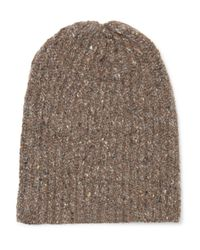 Inis Meáin - Brown Ribbed Mélange Merino Wool And Cashmere-blend Beanie for Men - Lyst