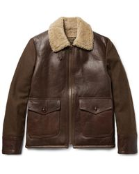 Schott Nyc Brown Type N-5a Shearling-trimmed Leather And Wool-blend Jacket for men