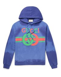 Gucci Purple Logo-print Loopback Cotton-jersey Hoodie for men