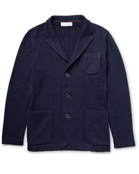 Brunello Cucinelli - Blue Stand-collar Cashmere Cardigan for Men - Lyst