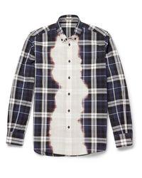 Bottega Veneta Blue Bleached Checked Cotton Shirt for men