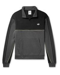 Adidas Originals Gray Colour-block Logo-embroidered Fleece-back Half-zip Sweatshirt for men