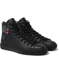 Gucci Black Major Wolf-appliquéd Full-grain Leather High-top Sneakers for men