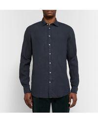 Massimo Alba Blue Linen Shirt for men