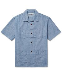 Outerknown Blue Cayman Camp-collar Cotton-chambray Shirt for men