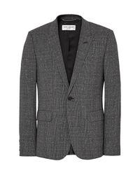 Saint Laurent Black Grey Slim-fit Prince Of Wales Checked Slub Wool-blend Suit Jacket for men