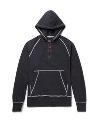 Albam Blue Slim-fit Stretch-cotton Jersey Half-zip Hoodie for men