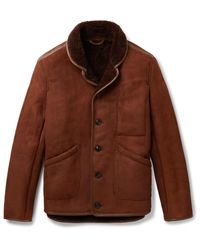 YMC Brown Leather-trimmed Shearling Jacket for men