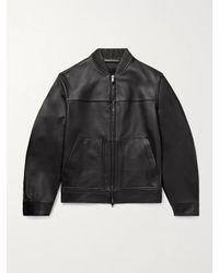 Theory Black Fletcher Leather Bomber Jacket for men