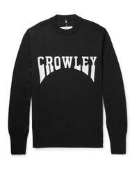 OAMC Black Crowley Intarsia Virgin Wool Sweater for men