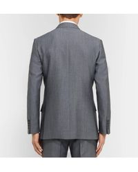 Kingsman Gray Eggsy's Grey Double-breasted Wool And Mohair-blend Suit Jacket for men
