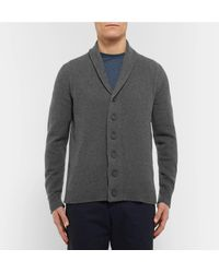 John Smedley - Gray Shawl-collar Wool And Cashmere-blend Cardigan for Men - Lyst