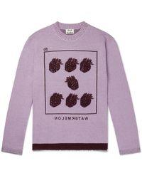 Acne Purple Kalm Intarsia Wool-blend Sweater for men