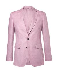 Burberry Pink Linen Suit Jacket for men