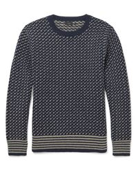J.Crew - Blue Two-tone Wool Sweater for Men - Lyst