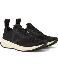 Rick Owens Black + Veja Rubber-trimmed V-knit Sneakers for men