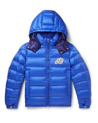 Moncler Blue Slim-fit Quilted Shell Hooded Down Jacket for men
