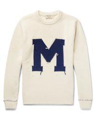 Maison Kitsuné Blue Intarsia Wool Sweater for men