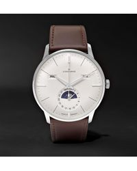 Junghans Brown Meister Kalender Automatic Moon-phase 40mm Stainless Steel And Leather Watch, Ref. No. 027/4200.01 for men