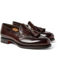 Santoni - Brown Polished-leather Tasselled Loafers for Men - Lyst