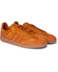 Adidas Originals Brown Jonah Hill Samba Embroidered Suede And Leather Sneakers for men