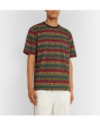 Stussy Green Logo-jacquard Striped Cotton T-shirt for men