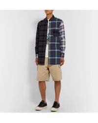 Loewe Blue Eye//nature Button-down Collar Patchwork Checked Cotton-flannel Overshirt for men