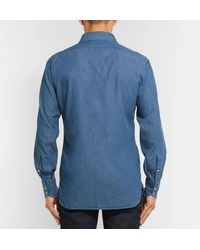 Tom Ford Blue Cutaway-collar Cotton-chambray Shirt for men