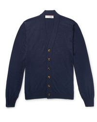 Brunello Cucinelli Blue Virgin Wool And Cashmere-blend Cardigan for men