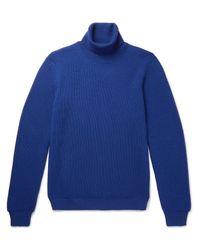 Altea - Blue Ribbed Virgin Wool Rollneck Sweater for Men - Lyst