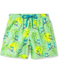 Vilebrequin Green Moorea Mid-length Printed Swim Shorts for men