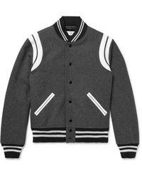 Saint Laurent Gray Leather-trimmed Wool-blend Bomber Jacket for men
