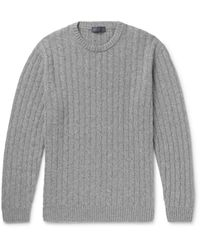 Thom Sweeney - Gray Slim-fit Cable-knit Cashmere Sweater for Men - Lyst