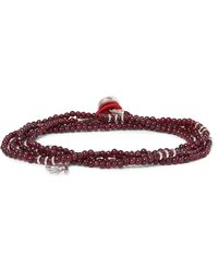 Isaia - Red Garnet Bead And Silver Wrap Bracelet for Men - Lyst