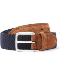 Andersons Blue 3.5cm Suede-trimmed Canvas Belt for men